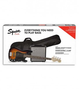 Pack Fender Squier Baixo Affinity Precision Bass Amplificador Rumble 15 Sunburst