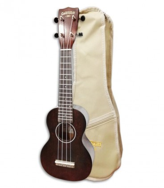 Foto del ukulele Gretsch Soprano G9100 con la funda