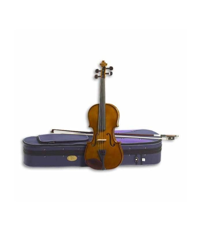 Foto do violino Stentor Student I 1/16 com o arco e estojo