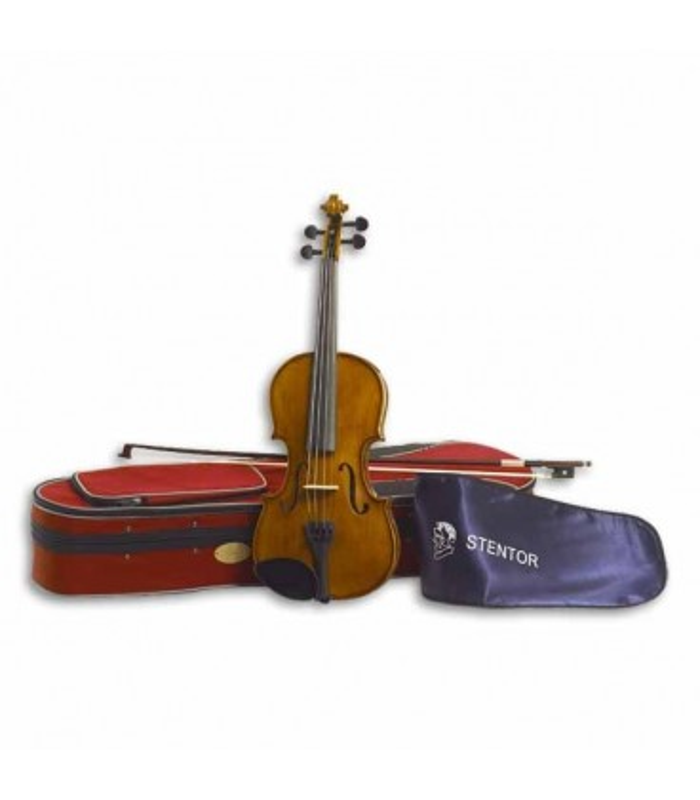 Foto do violino Stentor Student II 1/4 SH com o arco e estojo