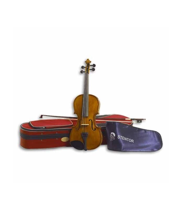 Foto do violino Stentor Student II 1/2 SH com o arco e estojo