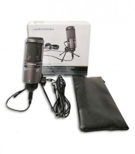 Embalagem do microfone Audio Technica AT2020 com embalagem e saco