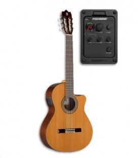 Foto de la guitarra clásica Alhambra 3C CW E1 y preamplificador