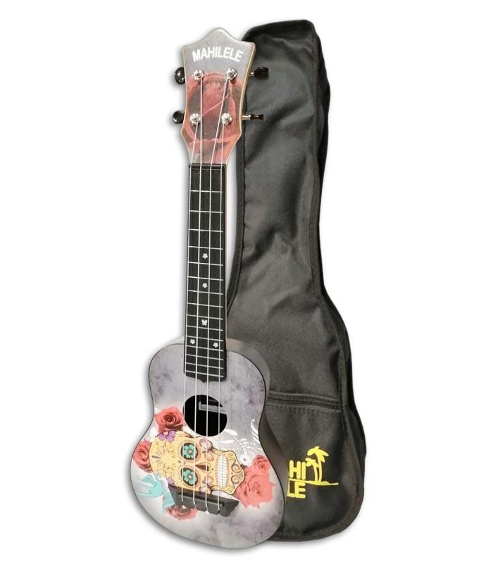 Foto do ukulele Mahilele ML3-004 Soprano Skullcom o saco