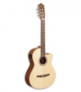 Foto da guitarra clássica Paco Castillo 221 CCE frente e em três quartos