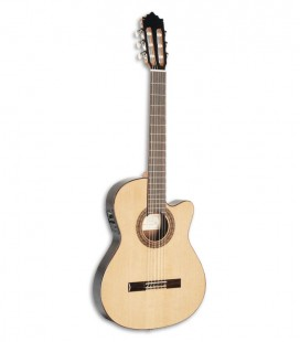 Photo of the Paco Castillo classical guitar 232 TE front and in three quarters