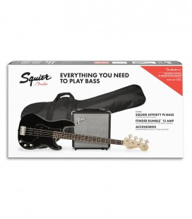 Pack Fender Squier Bass Affinity Precision Bass Rumble 15 Amp Black