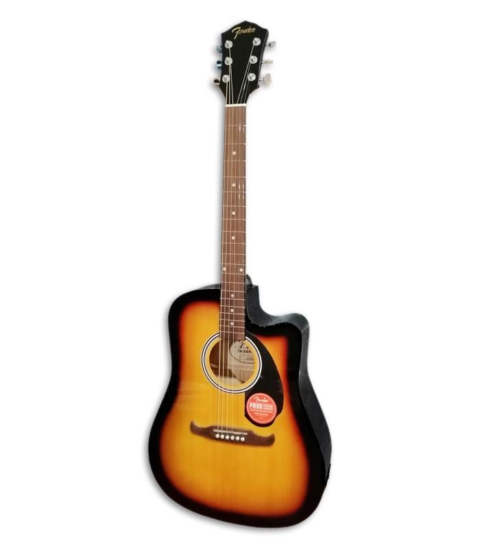 Foto de la Guitarra Folk Fender modelo FA 125CE Sunburst de frente e en trés cuartos