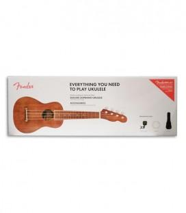 Pack Ukelele Fender Soprano Seaside Natural Funda Cuerdas Afinador