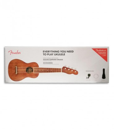 Foto da capa da caixa do Pack Ukulele Soprano Fender modelo Seaside cor Natural