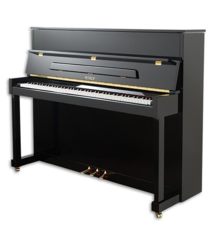 Foto del Piano Vertical Petrof modelo P122 N2 Higher Series de frente y en trés cuartos