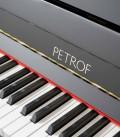 Foto detalle teclado del Piano Vertical Petrof modelo P122 N2 Higher Series de frente y en trés cuartos