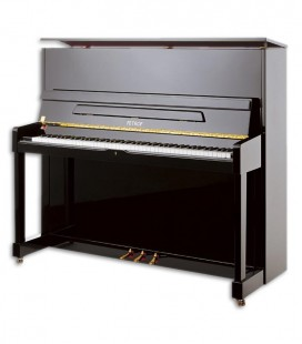 Photo of the Upright Piano Petrof model P125 M1 from the Higher Series front and three quarters
