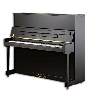 Photo of the Upright Piano Petrof model P125 K1 from the Higher Series front and three quarters
