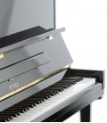 Photo detail of the keyboard and body of the Upright Piano Petrof P125 K1