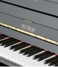 Photo of the keyboard and logo of the Upright Piano Petrof P125 K1
