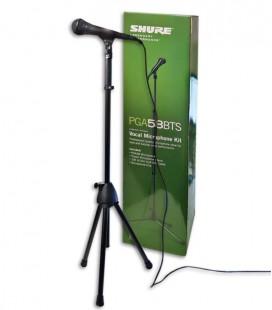 Foto del micrófono Shure modelo PGA 58 BTS con cable, soporte y pinza