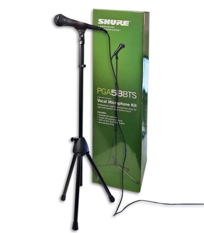 Foto do microfone Shure modelo PGA 58 BTS com cabo, suporte e pin巽a