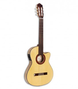 Photo of the classical guitar Paco Castillo model 233 FTE front and in three quarters