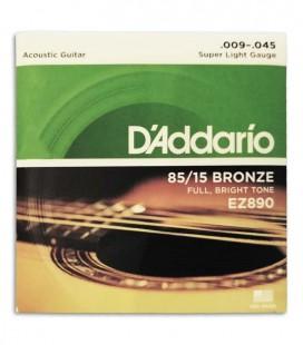 Foto de la portada de la embalaje del Juego de Cuerdas Daddario EZ890 009 para Guitarra Acústica