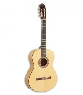 Foto de la guitarra flamenca Paco Castillo modelo 211 F de frente y en trés cuartos