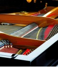 Foto detalhe da mecânica do Piano de Cauda Petrof P159 Bora