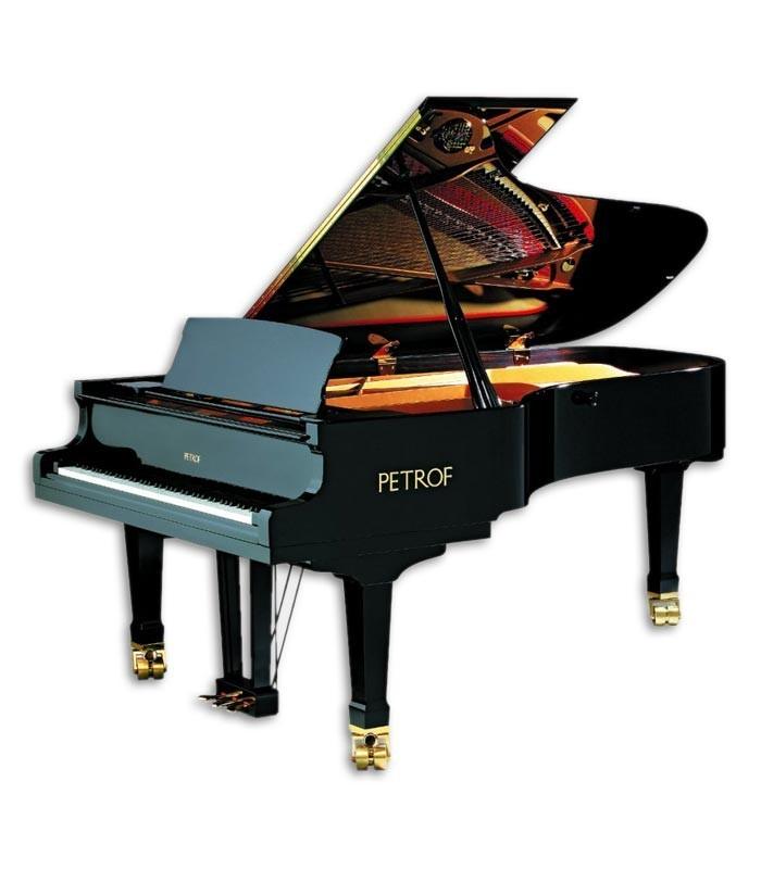 Foto do Piano de Cauda Petrof modelo P237 Moonsoon da Master Series de frente e em três quartos