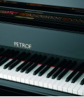 Photo detail of the keyboard and logo of the Grand Piano Petrof P284 Mistral