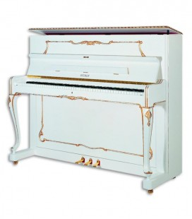 Photo of the Upright Piano Petrof model P118 R1 from the Style Collection front and in three quarters