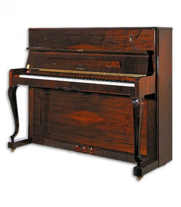 Photo of the Upright Piano Petrof model P118 C1 from the Style Collection front and in three quarters