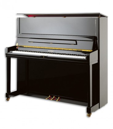 Photo of the Upright Piano Petrof model P131 M1 from the Highest Series front and three quarters