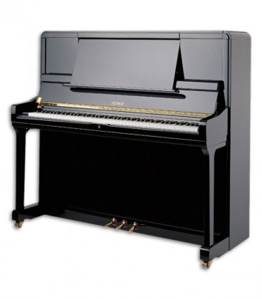 Photo of the Upright Piano Petrof model P135 K1 from the Highest Series front and in three quarters