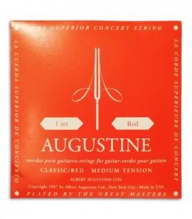 Foto de la contraportada del embalaje del Juego de Cuerdas Augustine Classic Red para Guitarra Clásica