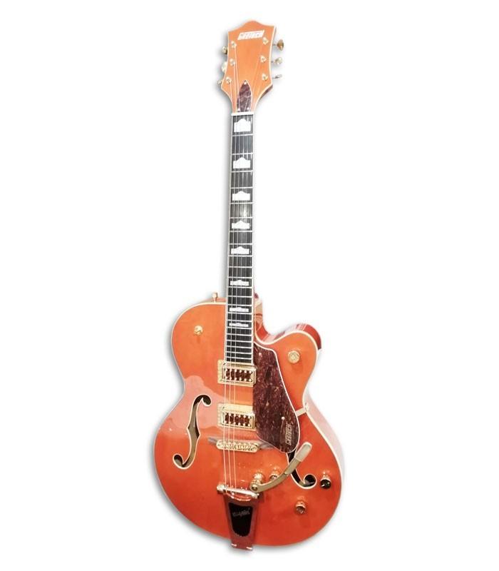 Foto da Guitarra Elétrica Gretsch modelo G5420TG Electromatic Hollow Body em cor Orange de frente e em três quartos