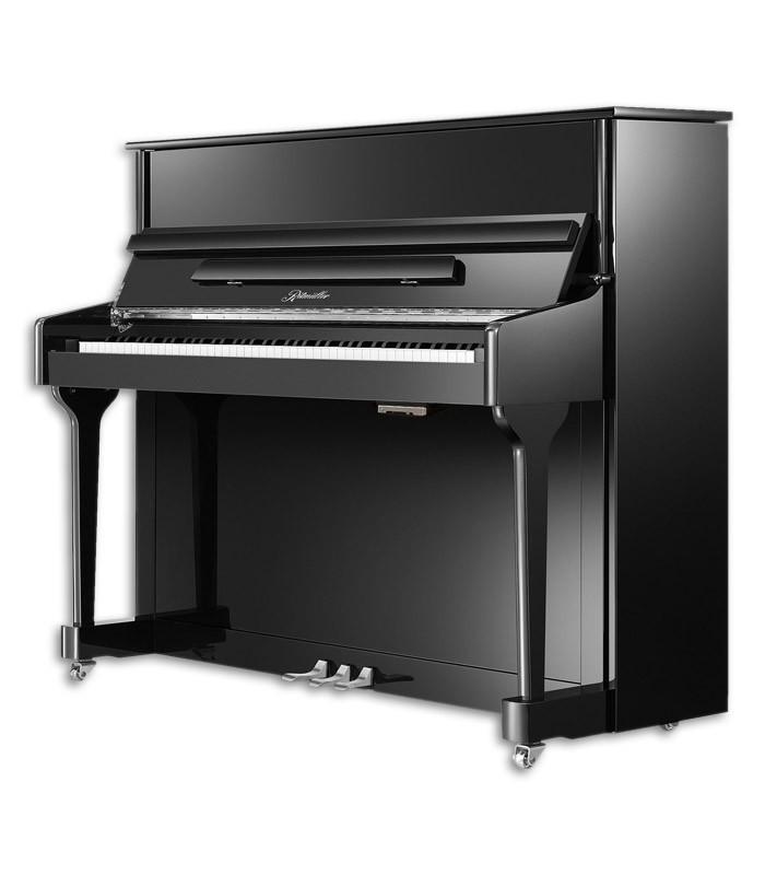 Imagem do Piano Vertical Ritmuller modelo AEU118S PE de frente e em três quartos