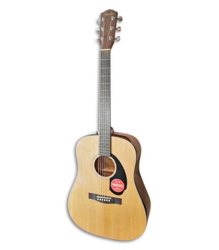 Foto de la Guitarra Acustica Fender Dreadnought modelo CD 60S Natural WN de frente y en trés cuartos