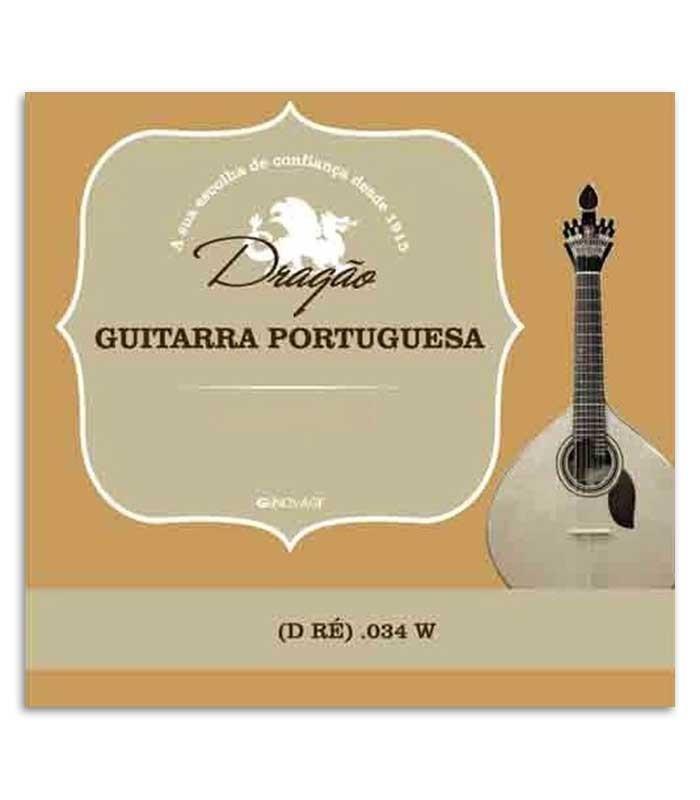 Corda Dragão 876 para Guitarra Portuguesa 034 3 Ré Bordão