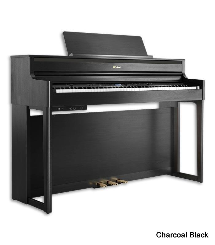 Foto do Piano Digital Roland HP-704 com acabamento Charcoal Black