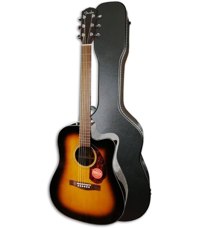 Foto da guitarra Fender CD-140SCE Sunburst com estojo