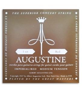 Foto de la contraportada de la embalaje del Juego de Cuerdas Augustine Imperial Red Tensión Média Alta