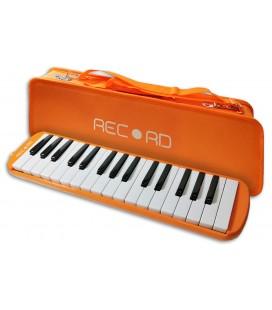 Foto de la Melodica Record modelo M 37OR en color naranja con estuche