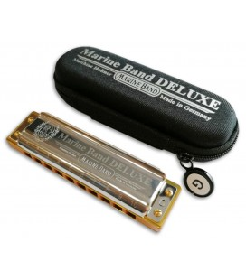 Photo of the Harmonica Hohner model Marine Band de Luxe in G with it's case