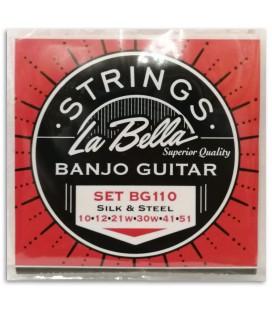 Foto de la portada de la embalaje del Juego de Cuerdas La Bella modeloBG-110