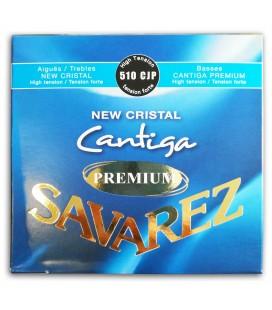 Photo of the String Set Savarez model 510-CJP New Crystal Cantiga Premium's package backcover