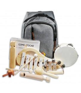 Foto de la mochila y de los 7 instrumentos musicales del Conjunto de Percusión Penguin Infantil con 7 Piezas
