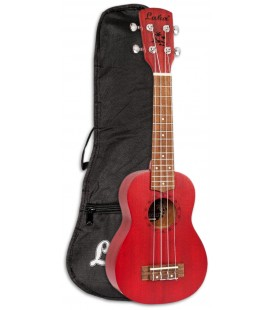 Photo of the Soprano Ukulele Laka model VUS5RD in Red color with the Bag