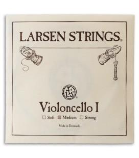 Foto da capa da embalagem da Corda Individual Larsen 1捉 L叩 para Violoncelo tamanho 4/4