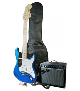 Photo of the guitar, bag, amp and accessories that come in the pack Fender Squier model Aff Strat HSS LPB amplifier 15G accessor