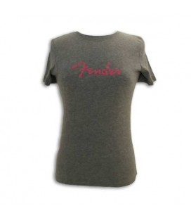 T shirt Fender Cinza com Logo Senhora Size M