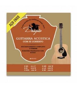 Jogo de Cordas Dragão 078 para Guitarra Clássica Aço Superior Si Bordão Botão Aço Inox